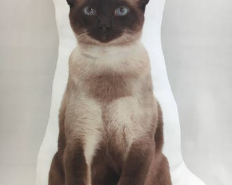 Siamese Shaped Cat Cushion, Handmade By Creature Comforts Direct