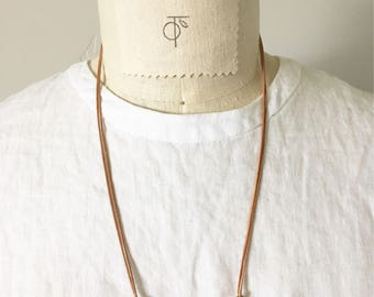 Matte Rose Quartz and Leather Necklace
