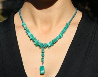 Green Japanese Kumihimo braiding necklace and pendant in Amazonite jewelry be - Aiko Creation