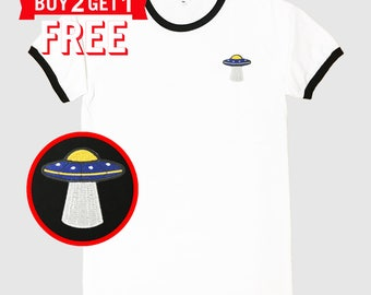 The UFO#101-01 Embroidered Ringer T-Shirt by 24PlanetsStudio