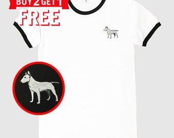 Bull Terrier Dog Embroidered Ringer T-Shirt by 24PlanetsStudio