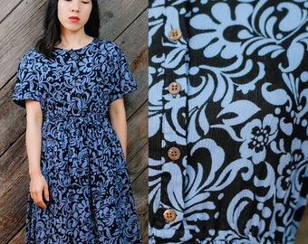 Midnight and carolina blue two tone dress / Japanese Vintage / Midcentury dress / Retro / Mod / Secretary / Abstract designs / Size XS-S