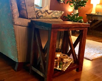 farmhouse style end table rustic end table x style end table