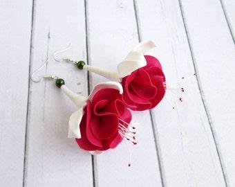 Floral Fuschia Long Earrings - Designer Wine Red White Flower Earrings - Bordo Burgundy Fushia Dangle Drop Earrings - Ladies Stud Earrings