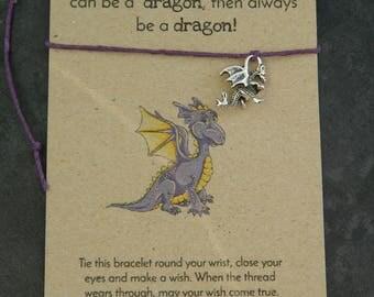 Make a wish bracelet - Dragon bracelet - charm bracelet - Friendship Bracelet - Dragon charm bracelet