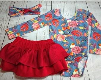 Handmade Baby girl toddler Christmas ruffle hidden bloomer skirt RED