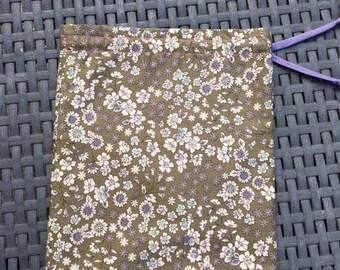 liberty floral khaki lingerie frou-frou pouch
