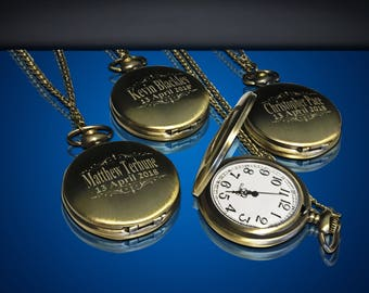 Groomsmen gift - 5 Personalized Pocket watches - Bride and Groom gifts - Best man, Usher and Groomsman gift set - Wedding gift set