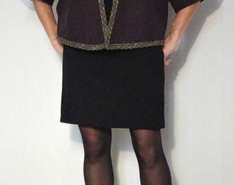 Felted wool Cape coat-plum