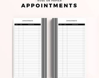 Personal Size Appointment Tracker, Printable Planner Inserts, Productive Planner Pages, Black & White Stripes