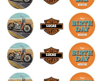Harley Davidson-Themed Birthday Chocolate Covered Cookies