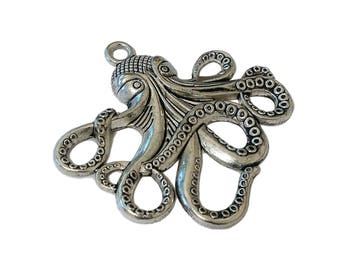 2 or 6 BULK Large Octopus Pendants | Octopus Charm | Steampunk Octopus | Silver Octopus | Kraken Charm | Cthulhu | Ready to Ship USA | AS122