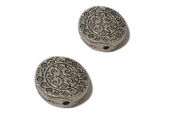 4 or 20 BULK Ethnic Spacer Beads | Tribal Charms | Antique Silver Beads | Metal Spacer Beads | Silver Spacer | Ready to Ship USA | AS362