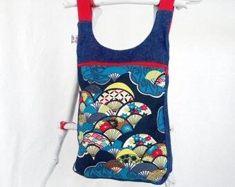 Mochila mujer abanicos,Mochila estilo japonés, abanicos japoneses, bolso mochila, mochila tejana azul, abanicos, mochila diaria,
