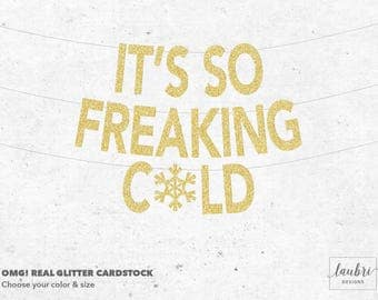 It's So Freaking Cold Banner // Glitter, Mirror & Metallic Quality Paper Options // Custom Size Options // Made To Order // Punny Banner