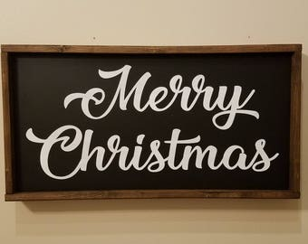 Merry Christmas - Framed Sign - Sign - Merry Christmas Sign