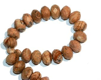 Jasper Beads Picture Jasper 10x7mm Faceted Rondelle Beads Strand of 22 Beads plus 2 Free Matching Small 6mm Disc Jasper Beads