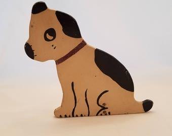 Vintage 1930's wooden Folk Art Dog Doorstop Carving
