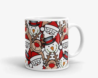 Santa mug, 11oz Christmas mug, Reindeers, santa and snwoman - design wrapped all around the mug, christmas coffee mug, holiday mug