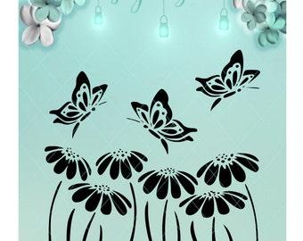 Butterflies and Daisies / Butterfly Svg / Daisy Svg / Butterfly Flower / Daisy Dxf / Butterfly Dxf / Mason Jar / Night Light