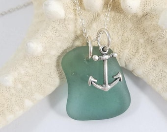 Beach Glass Necklace, Sterling Silver Necklace, Anchor Charm, Green Beach Glass, Rare Beach Glass, Genuine Beach Glass, Genuine Sea Glass