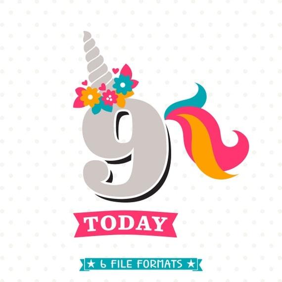 9th Birthday SVG Unicorn Birthday Iron On File 9th Birthday