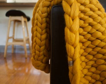 Chunky knit throw   Merino Blanket   Throw Blanket   Home Decor   Autumn   Mustard