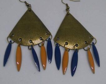 Bronze earrings blue mustard