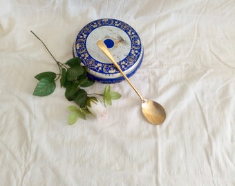 Long Golden Spoon, Serving Spoon, Silver-Plated, Italian Tableware, Elegant Service