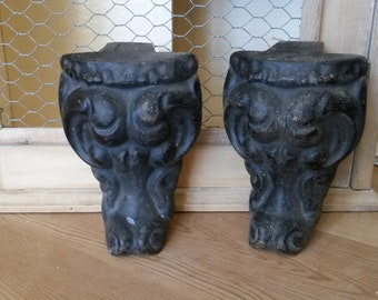 2 Iron Bath Feet, Upgrading, Sculpted Iron, Cast Iron Covers, Sculpted Feet, Bath Tub Restoration