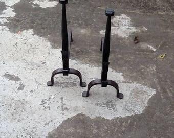 Beautiful pair of handmade wrought iron