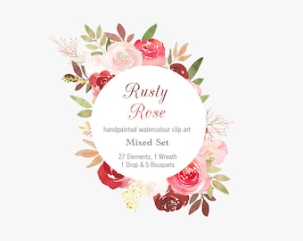 Hand Painted Floral Clipart - Rusty Roses, autumn flowers, Floral PNG, floral clip art, wedding invitation, watercolour logo & branding