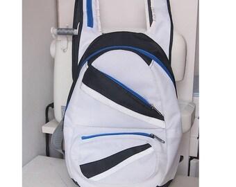 fabric backpack white blue sport rucksack