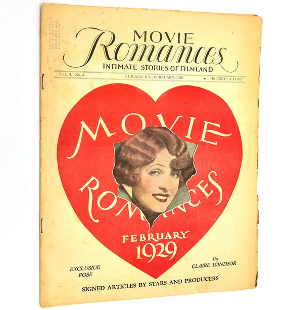 Movie Romances: Intimate Stories of Filmland Vol. 4, No. 3, February, 1929 Vintage Magazine Tabloid