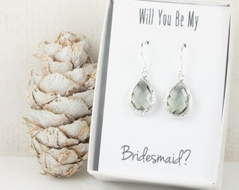 Charcoal Silver Teardrop Earrings, Silver Gray Earrings, Bridesmaid Gift, Wedding Jewelry, Bridesmaid Earrings, Charcoal Bridal Accessories