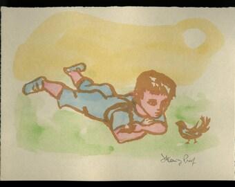 "FRANK KLEINHOLZ (American, 1901-1987), ""Boy and Bird"", 1954, woodcut, pencil signed"