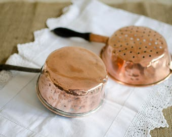 French Copper Pan, Copper Colander, Copper Sieve, Vintage Copper Saucepan, Milk pan, Vintage French Copper