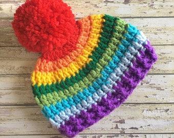 Newborn Rainbow Hat, Rainbow Baby Hat, Crochet Rainbow Hat, Newborn Boy Hat, Newborn Girl Hat, Newborn Photo Prop, Rainbow Baby Gift, Baby