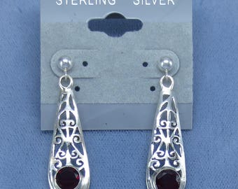 Genuine Garnet Earrings - Sterling Silver - Long Dangles - Posts or Leverback - Filigree - 201208