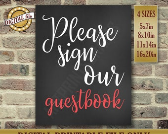 Wedding Guestbook Sign, Wedding Guestbook, Please Sign Our Guestbook Sign, Printable Wedding Decor, Chalkboard Sign, Printable DIGITAL FILE