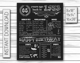 65 Years Ago, 1953 years ago, Born in 1953, back in 1953, Adult Birthday, 65th Birthday Gift, 1953 History, 65th Chalkboard, DIGITAL FILE