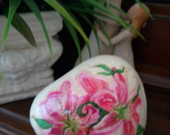 Hand painted Lily on stone