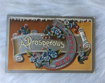 Antique New Years Horseshoe embossed prosperous new year postcard good luck