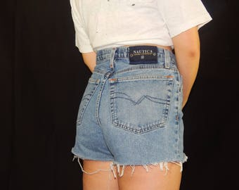 Vintage High Waisted Mid-Light Wash Nautica Cutoff Jean Shorts