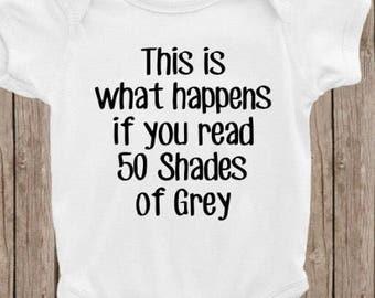 50 Shades of Grey baby bodysuit, funny baby bodysuits, movie baby clothing