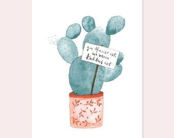 """Postcard """"Home is where my cactus is"""""""