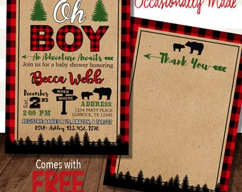 Wild One Lumberjack Baby Shower Invitation Invitation - Digital File -Print - Red Black Blue Buffalo Plaid Camping Adventure Mountain Rustic