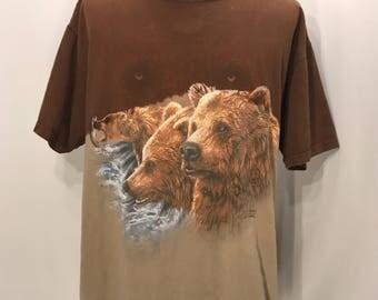 90s Polar Graphics Find 11 HIDDEN Bears T Shirt / Retro Bear Lovers Unique Hidden Images Find 11 BEARS Graphic Tee Mens XL