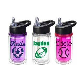 Personalized Kids Sports Water Bottle - Kids Small Sports Bottles - Team Sports Party Favor - Sports Team Gift - Soccer - Baseball - Sports