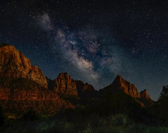 The Milky Way Over The Watchman - Zion, The Milky Way, Starry Sky, Astrophotography, Photographer, Stars, Night, Landscape, Utah